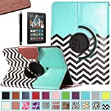 Pandamimi ULAK(TM) 360 Rotating PU Leather Case Cover for Amazon Kindle Fire HDX 7.0 Inch 2013 Gen with Smart Cover Auto Wake/Sleep Feature and Stylus (FOLLOW THE SKY)